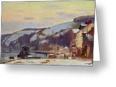 Hillside At Croisset Under Snow Greeting Card