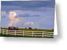 Hillside Hay Bales At Sunset Greeting Card