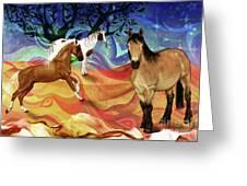 Hillside Horses Greeting Card