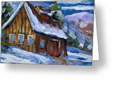 Hillsidebarn In Winter Greeting Card
