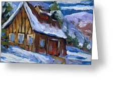 Hillsidebarn In Winter Greeting Card