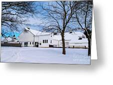 Hilltip Farm In Snow Greeting Card