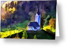 Hilltop Church In Misty Mountain Forest Greeting Card