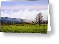 Hilltop Fog Sunrise Landscape Greeting Card