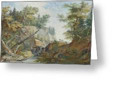 Hilly Landscape With A River And Figures In The Background Greeting Card