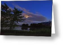 Hinkley Pond Moonset Greeting Card