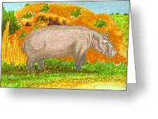 Hippo In The Savanna Greeting Card