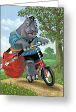 Hippo Post Man On Cycle Greeting Card