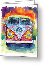Hippy Bus Greeting Card