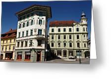 Historic Art Nouveau Buildings At Preseren Square White Tiled Ha Greeting Card