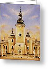 Historic Church And Town Square, Graphic Work From Painting. Greeting Card