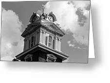 Historic Courthouse Steeple In Bw Greeting Card by Doug Camara