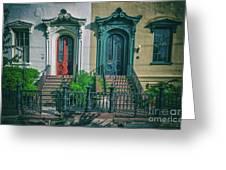 Historic Doors Of Charleston On Bull St Greeting Card