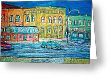 Historic Downtown Elgin At Twilight Greeting Card
