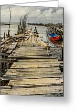 Historic Fishing Pier In Portugal I Greeting Card
