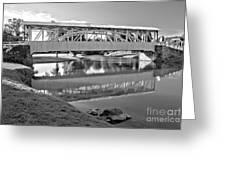 Historic Halls Mill Bridge Reflections Black And White Greeting Card