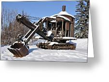 Historic Mining Steam Shovel During Alaska Winter Greeting Card