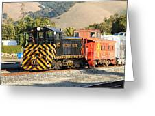 Historic Niles Trains In California . Old Southern Pacific Locomotive And Sante Fe Caboose . 7d10821 Greeting Card