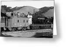 Historic Niles Trains In California . Southern Pacific Locomotive And Sante Fe Caboose.7d10843.bw Greeting Card by Wingsdomain Art and Photography
