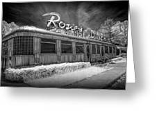 Historic Rosie's Diner In Black And White Infrared Greeting Card