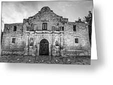 Historic San Antonio Alamo Mission - Black And White Edition Greeting Card