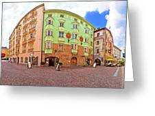 Historic Street Of Innsbruck Panoramic View Greeting Card