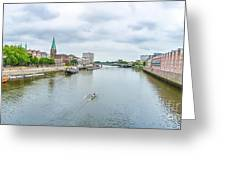 Historic Town Of Bremen And Weser River Greeting Card