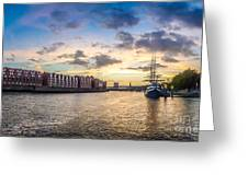 Historic Town Of Bremen With Weser River Greeting Card