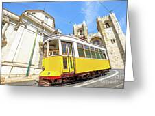 Historic Tram And Lisbon Cathedral Greeting Card