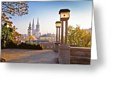 Historic Zagreb Towers Sunrise View Greeting Card