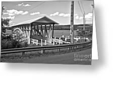 History At The Bend Black And White Greeting Card