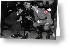 Hitler Conferring With Joseph Goebbels Circa 1936 Color Added 2016 Greeting Card