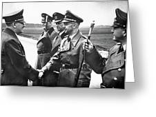 Hitler Shaking Hands With Heinrich Himmler Unknown Date Or Location Greeting Card