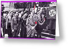 Hitler With Nazi Entourage Hess And Himmler In 2nd Row Circa 1935 Color Added 2016 Greeting Card