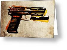 Hk 45 Pistol Greeting Card by Michael Tompsett