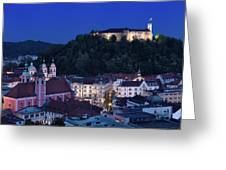 Hlltop Ljubljana Castle Overlooking The Old Town Of Ljubljana Ca Greeting Card