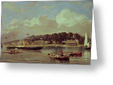 Hm Yacht Victoria Greeting Card by George Gregory