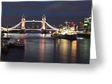 Hms Belfast And Tower Bridge Greeting Card
