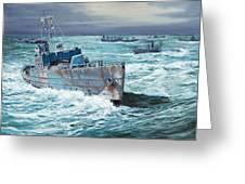 Hms Compass Rose Escorting North Atlantic Convoy Greeting Card by Glenn Secrest