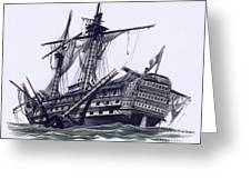 Hms Victory After The Battle Of Trafalgar, With Mizzen Topmast Shot Away Greeting Card