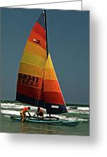 Hobie Cat In Surf Greeting Card