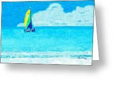 Hobie Sailing Off Lido Beach Coast Greeting Card