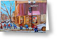 Hockey At Beautys Deli Greeting Card by Carole Spandau
