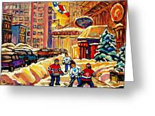 Hockey Fever Hits Montreal Bigtime Greeting Card