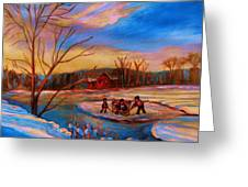 Hockey Game On Frozen Pond Greeting Card