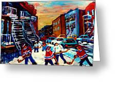 Hockey Paintings Of Montreal St Urbain Street City Scenes Greeting Card