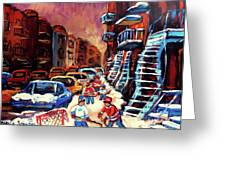 Hockey Paintings Of Montreal St Urbain Street Winterscene Greeting Card