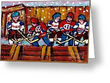 Hockey Rink Paintings New York Rangers Vs Habs Original Six Teams Hockey Winter Scene Carole Spandau Greeting Card