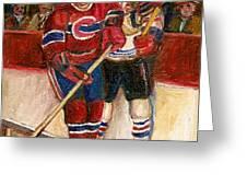 Hockey Stars At The Forum Greeting Card