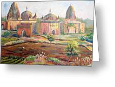 Hoeing By Hand In Orchha India Greeting Card